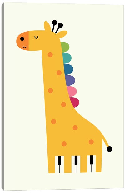 Giraffe Piano Canvas Art Print