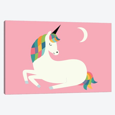 Unicorn Happiness Canvas Print #AWE89} by Andy Westface Canvas Artwork