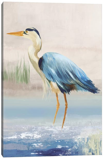 Heron On The Beach II Canvas Art Print