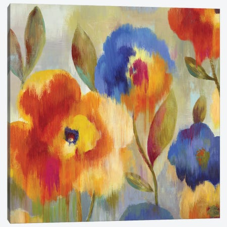 Ikat Florals Canvas Print #AWI151} by Aimee Wilson Canvas Art
