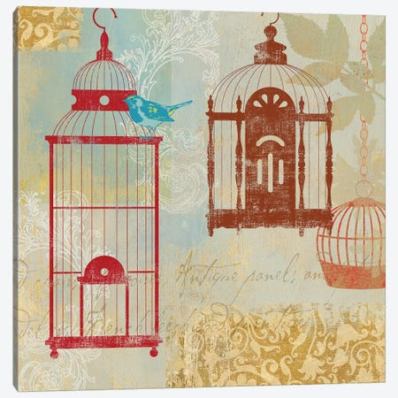 Bird On A Cage I Canvas Print #AWI21} by Aimee Wilson Canvas Art
