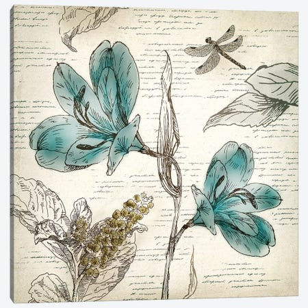 Blooming Teal I Canvas Print #AWI26} by Aimee Wilson Art Print