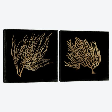 Gold Coral Diptych Canvas Print Set #AWI2HSET001} by Aimee Wilson Art Print