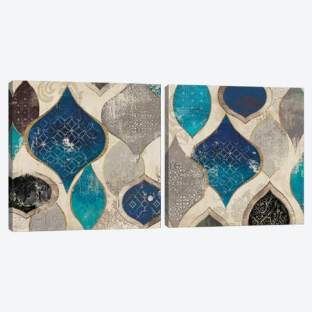 Blue Motif Diptych Canvas Print Set #AWI2HSET006} by Aimee Wilson Canvas Artwork