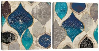 Blue Motif Diptych Canvas Art Print