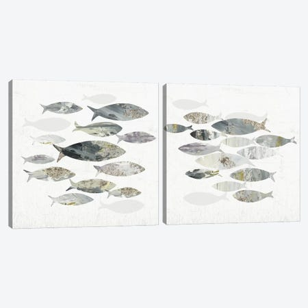 Gone Fishing Diptych Canvas Print Set #AWI2HSET010} by Aimee Wilson Canvas Artwork