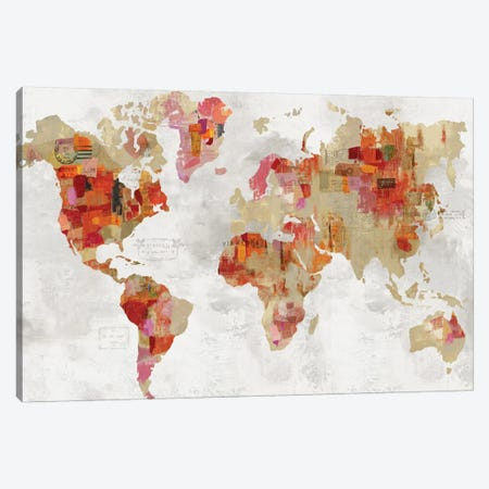 Red Map Canvas Print #AWI327} by Aimee Wilson Canvas Art