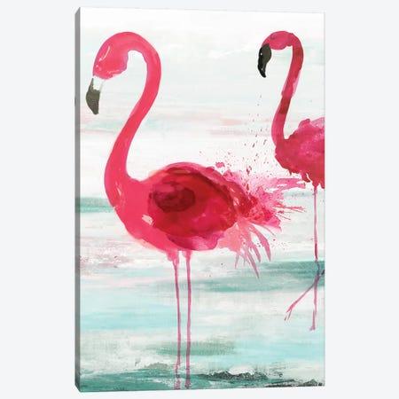 Beach Flamingoes Canvas Print #AWI348} by Aimee Wilson Art Print