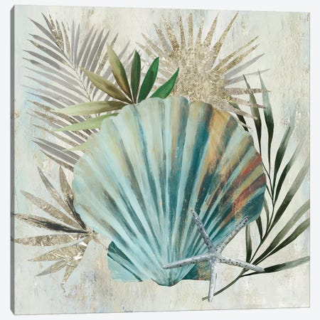 Turquoise Shell I Canvas Print #AWI372} by Aimee Wilson Canvas Artwork