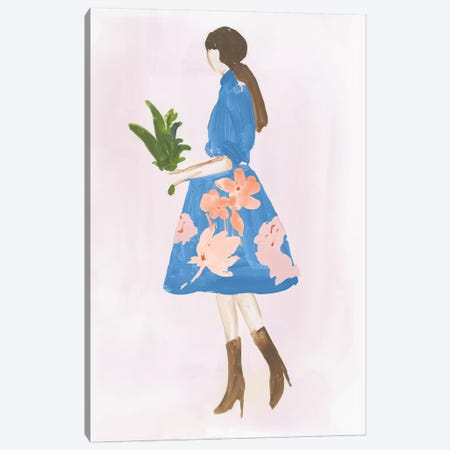 Girl with Plant Canvas Print #AWI446} by Aimee Wilson Canvas Print