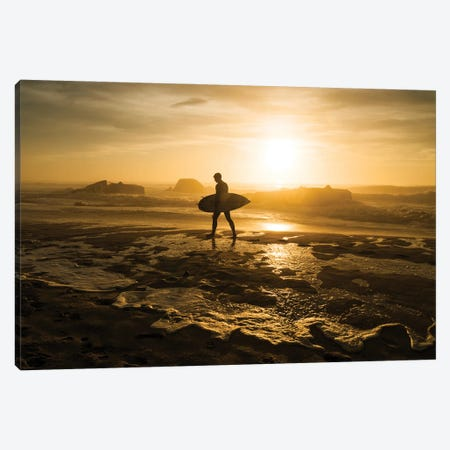 Surfer Silhouette Canvas Print #AWL18} by Andrew Lever Canvas Wall Art