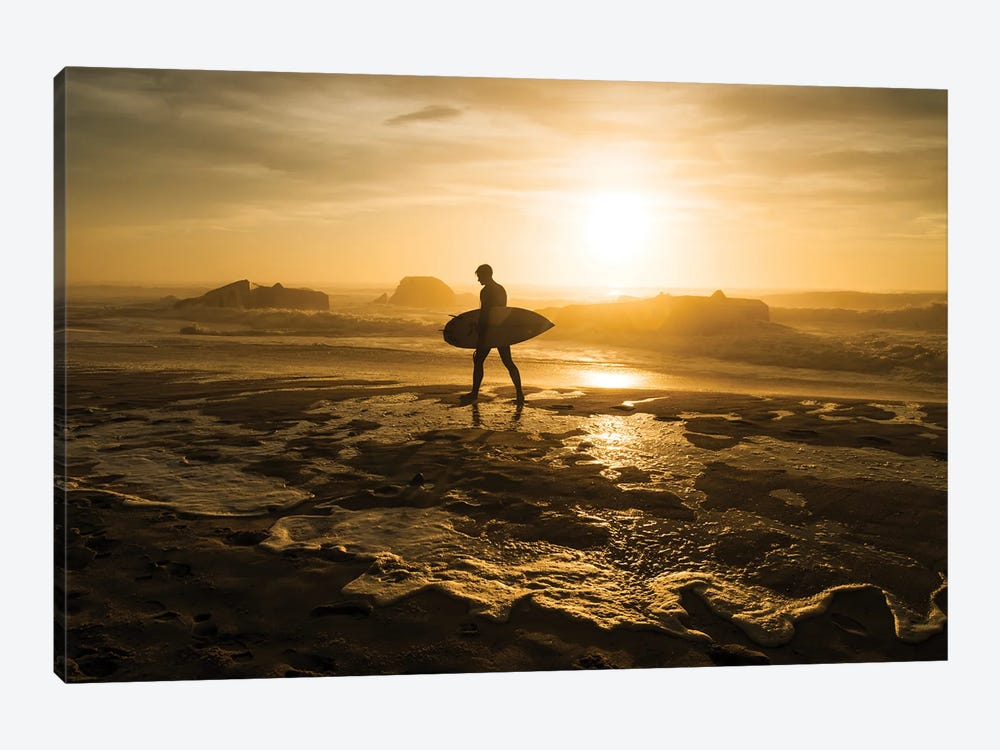 Surfer Silhouette by Andrew Lever 1-piece Canvas Print