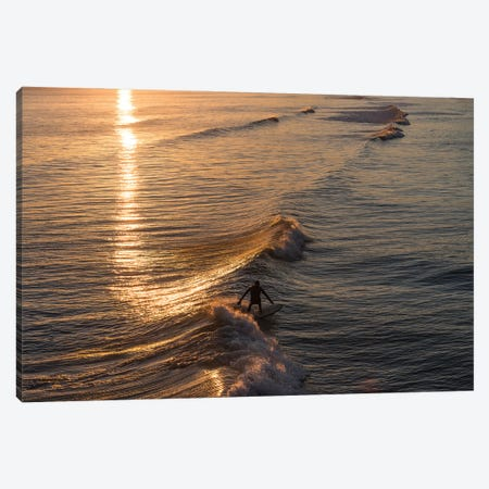Sunset Surfer Canvas Print #AWL26} by Andrew Lever Canvas Wall Art
