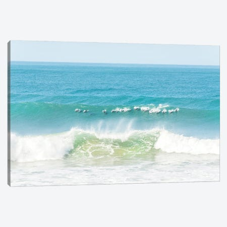Dolphins Surfing Canvas Print #AWL2} by Andrew Lever Canvas Art Print