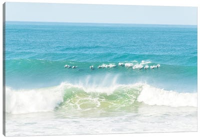 Dolphins Surfing Canvas Art Print