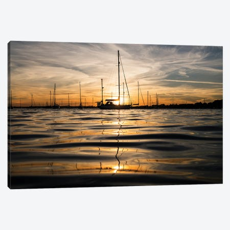 Sunset Yachts Canvas Print #AWL32} by Andrew Lever Canvas Artwork