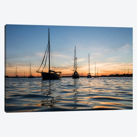 Sunset Sailing Canvas Print #AWL33} by Andrew Lever Canvas Wall Art
