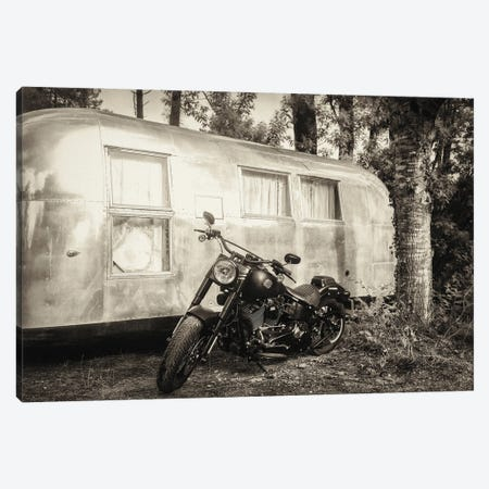 Harley And Airstream Canvas Print #AWL36} by Andrew Lever Canvas Art Print