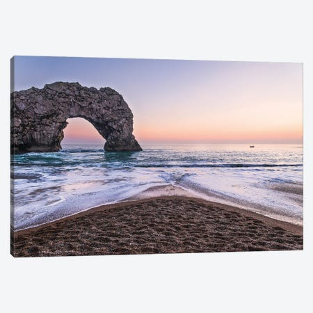 Durdle Door Sunset Canvas Print #AWL75} by Andrew Lever Art Print