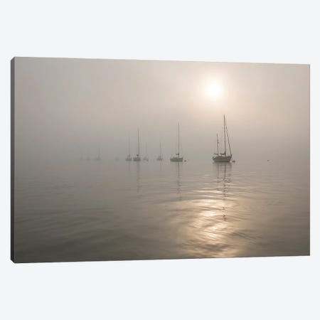Boats In The Fog Canvas Print #AWL93} by Andrew Lever Canvas Wall Art