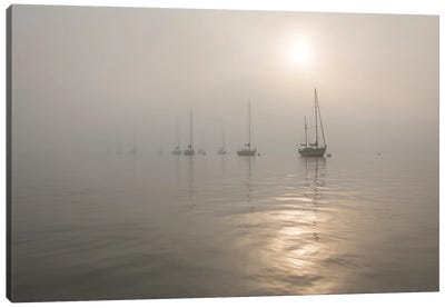 Boats In The Fog Canvas Art Print