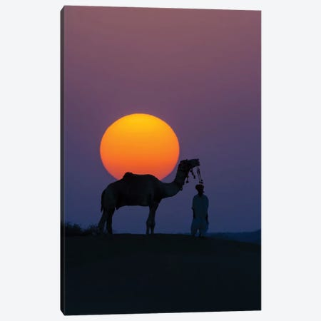 Camel and person at sunset, Thar Desert, Rajasthan, India Canvas Print #AWO15} by Art Wolfe Canvas Art