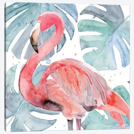 Flamingo Splash II Canvas Print #AWR116} by Annie Warren Canvas Art Print