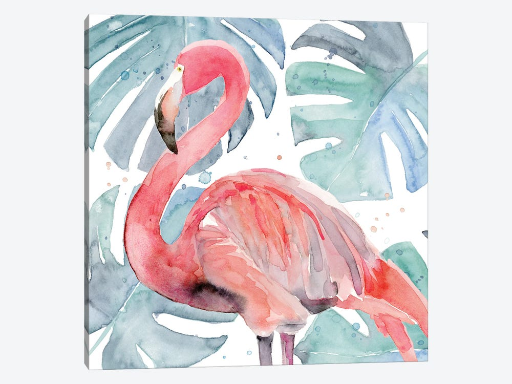 Flamingo Splash II by Annie Warren 1-piece Canvas Wall Art