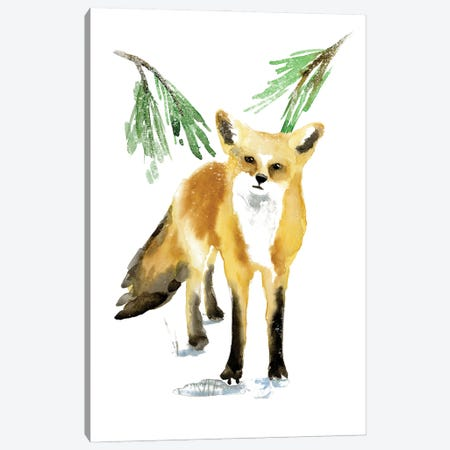Snowy Fox II Canvas Print #AWR129} by Annie Warren Art Print