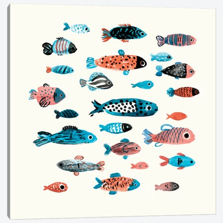 Fish School I 3-Piece Canvas #AWR12} by Annie Warren Canvas Art