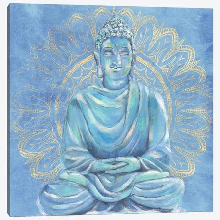 Buddha on Blue I Canvas Print #AWR132} by Annie Warren Canvas Artwork