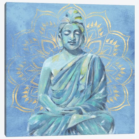 Buddha on Blue II Canvas Print #AWR133} by Annie Warren Canvas Wall Art