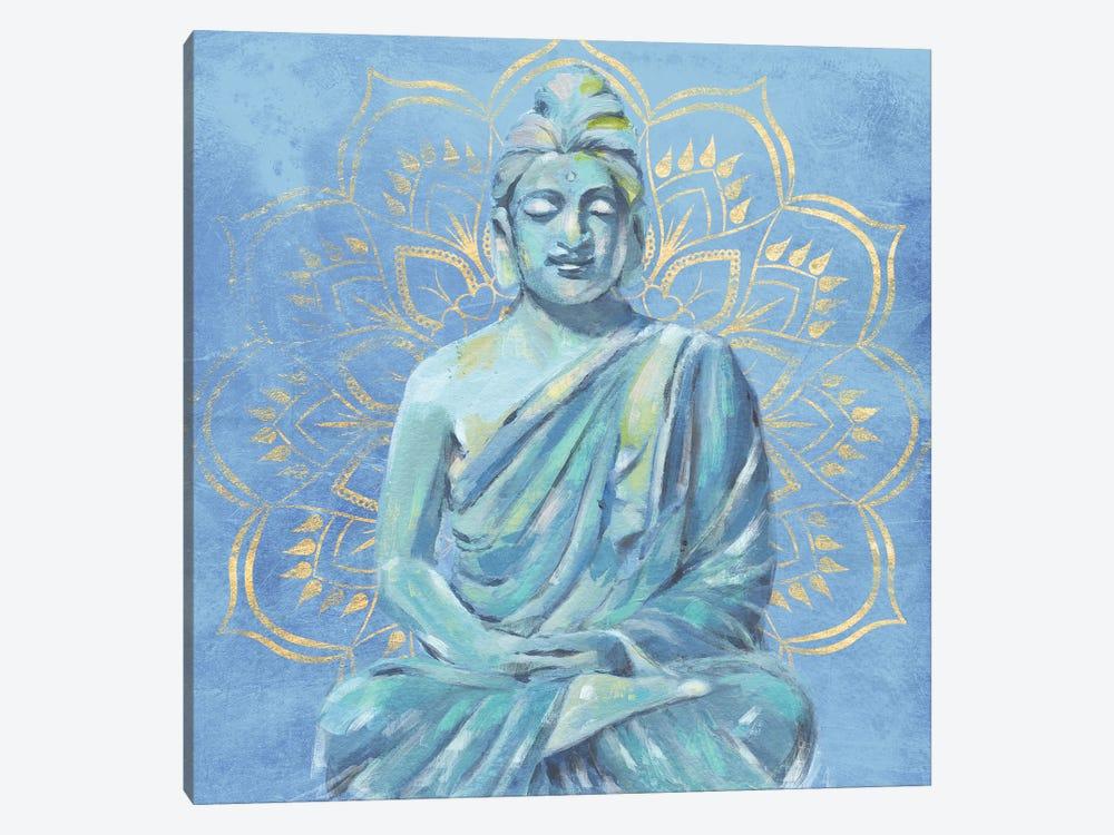 Buddha on Blue II by Annie Warren 1-piece Canvas Print