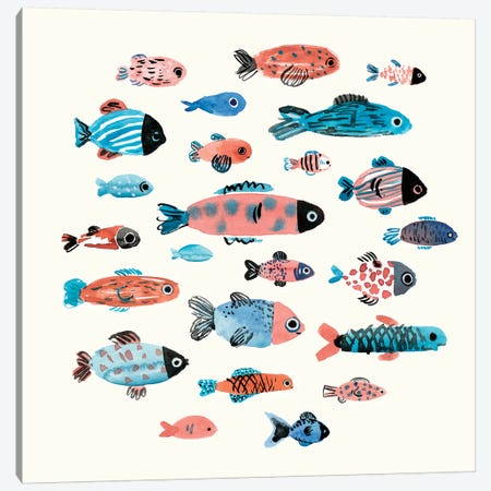 Fish School II Canvas Print #AWR13} by Annie Warren Canvas Wall Art