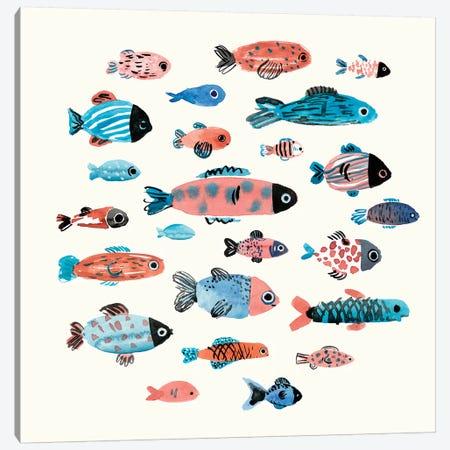 Fish School II Canvas Print #AWR13} by Annie Warren Canvas Wall Art