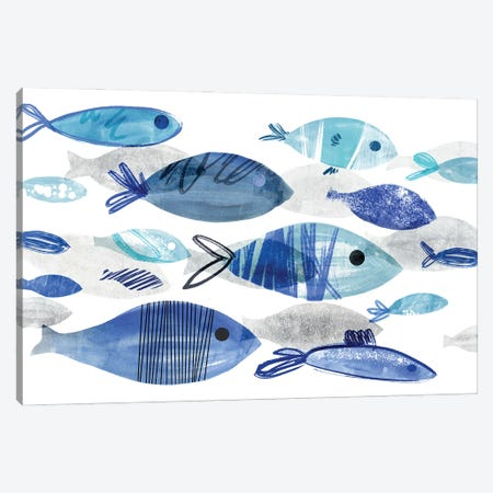 Fish Parade I Canvas Print #AWR140} by Annie Warren Canvas Art Print