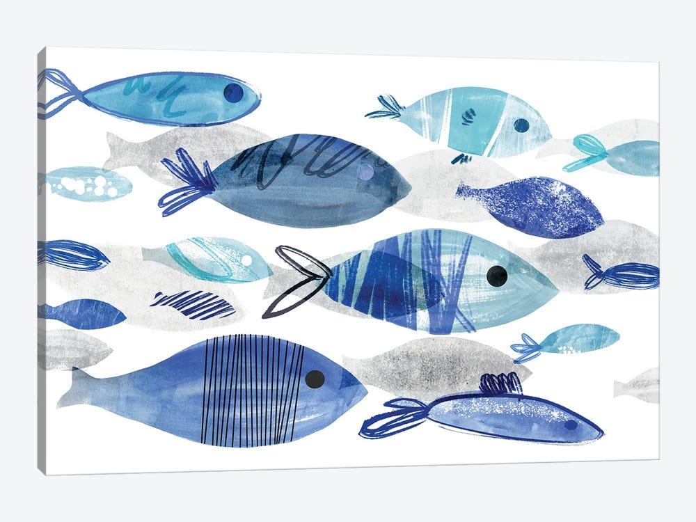 Fish Parade I by Annie Warren 1-piece Canvas Art Print