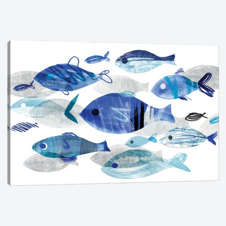 Fish Parade II Canvas Print #AWR141} by Annie Warren Art Print
