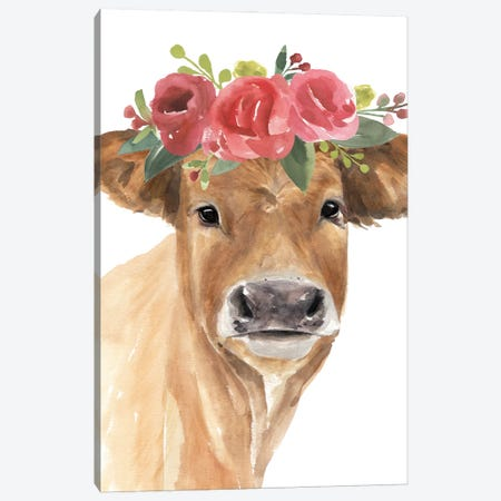 Flowered Cow I Canvas Print #AWR142} by Annie Warren Canvas Art Print
