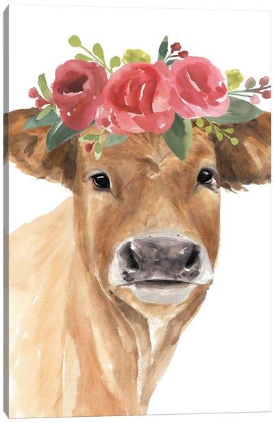 Flowered Cow I Canvas Art Print