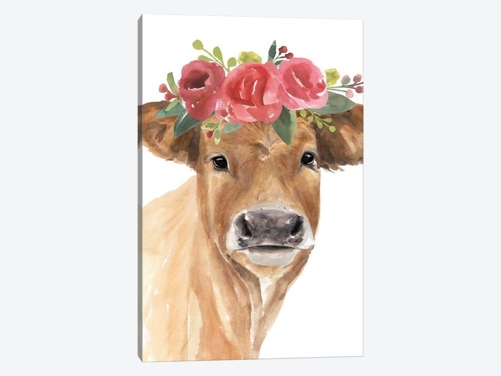 Flowered Cow I by Annie Warren 1-piece Canvas Print