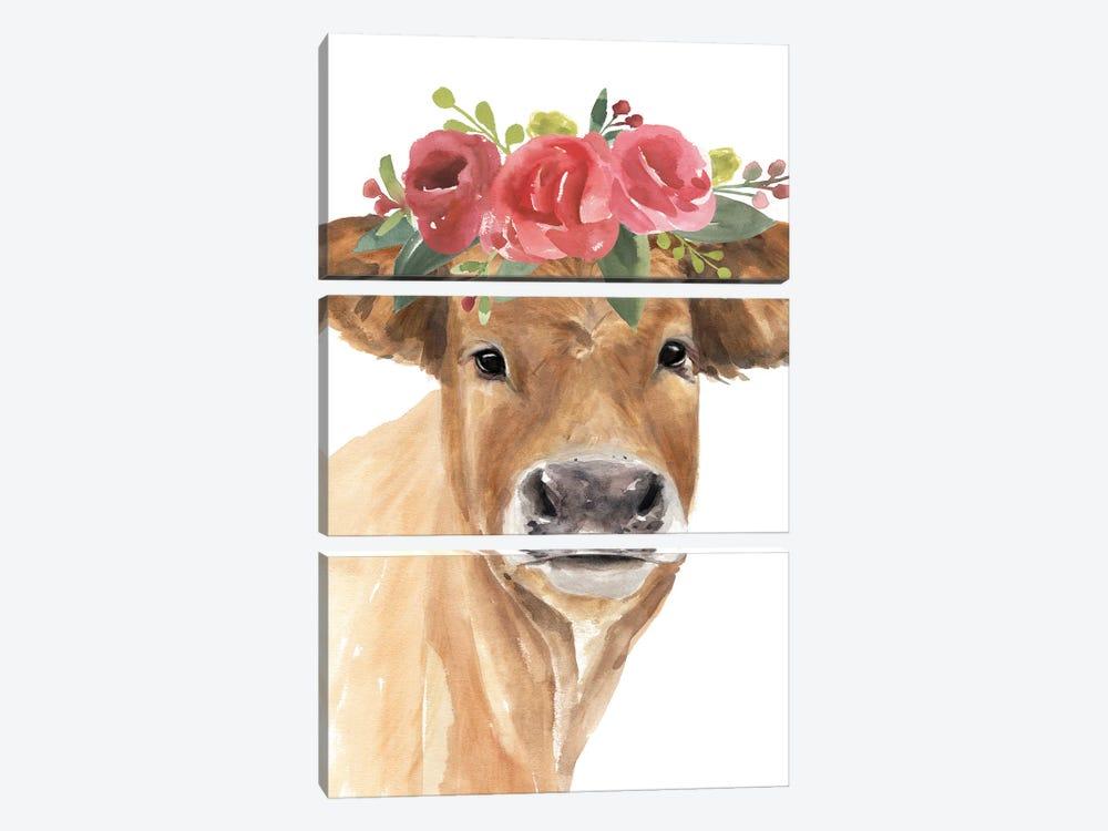 Flowered Cow I by Annie Warren 3-piece Art Print