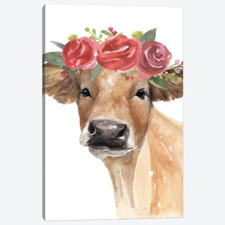 Flowered Cow II Canvas Print #AWR143} by Annie Warren Canvas Art Print