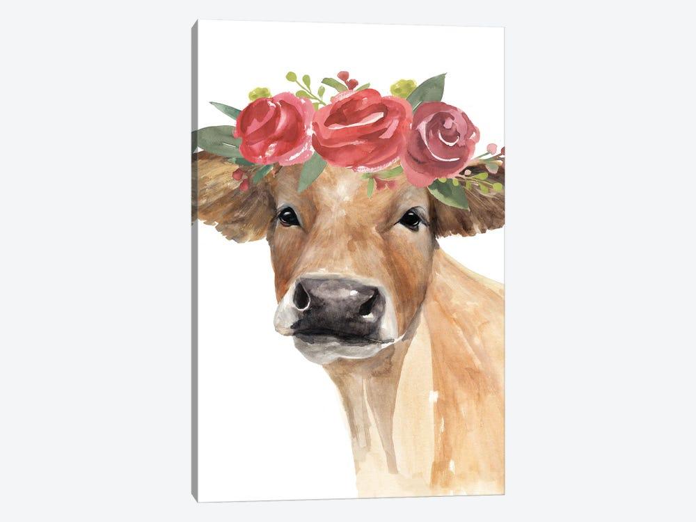 Flowered Cow II by Annie Warren 1-piece Canvas Artwork