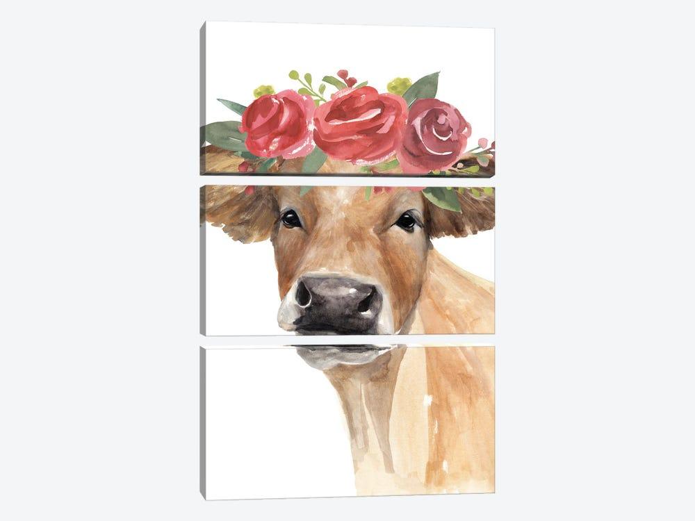 Flowered Cow II by Annie Warren 3-piece Canvas Artwork