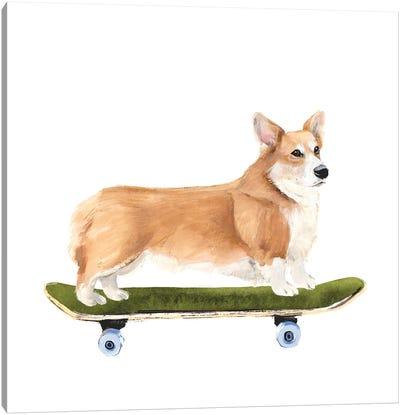 Pups on Wheels III Canvas Art Print