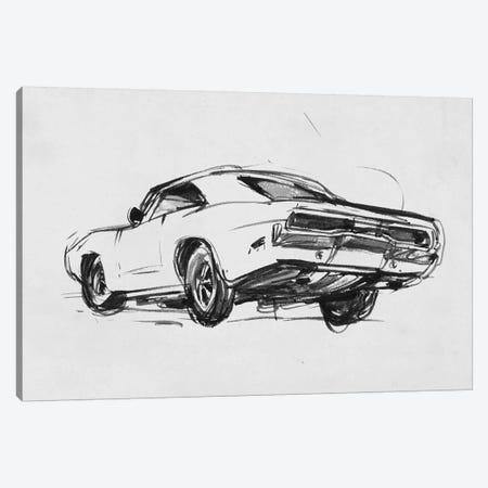Classic Car Sketch I Canvas Print #AWR52} by Annie Warren Canvas Wall Art