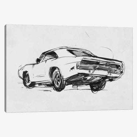 Classic Car Sketch I Canvas Print #AWR52} by Annie Warren Canvas Wall Art