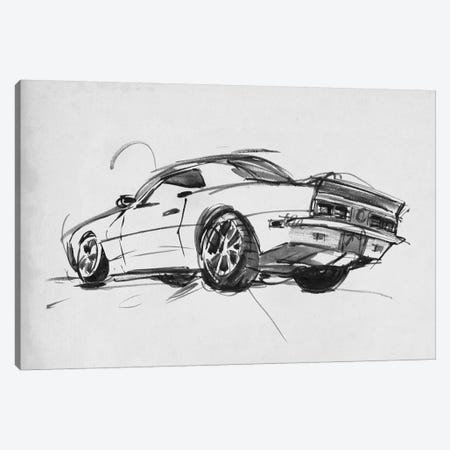 Classic Car Sketch II Canvas Print #AWR53} by Annie Warren Canvas Art