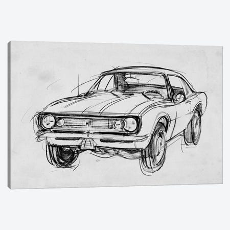 Classic Car Sketch III Canvas Print #AWR54} by Annie Warren Canvas Art Print